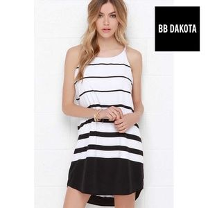 BB DAKOTA AMELIA BLACK & WHITE STRIPED SHIFT DRESS